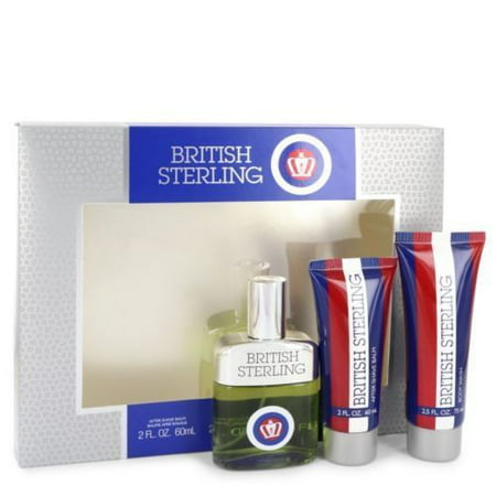 British Sterling by Dana for Men 3 PC Fragrance Gift Set- Cologne , After Shave Balm, Body Wash