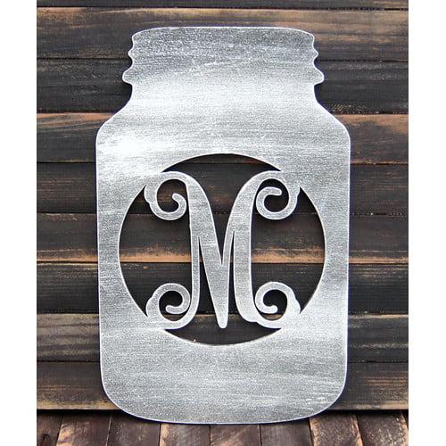 aMonogram Art Unlimited Mason Jar Wooden Monogram Wall Decor