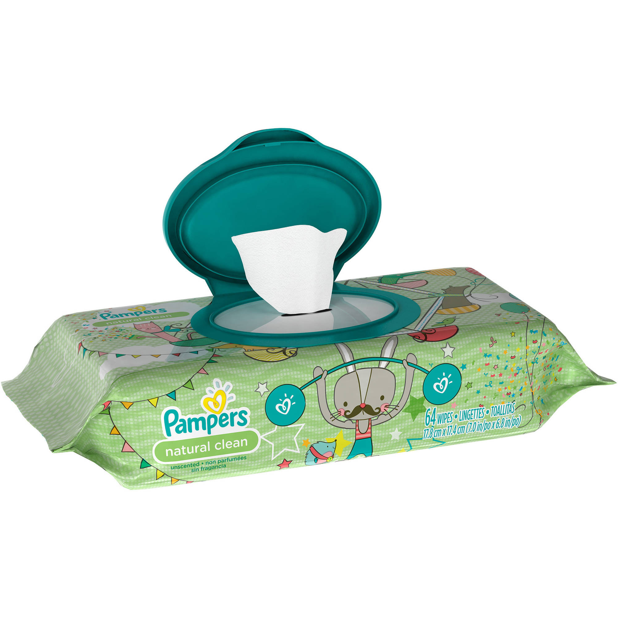 Pampers Natural Clean Baby Wipes Refills, 64 sheets