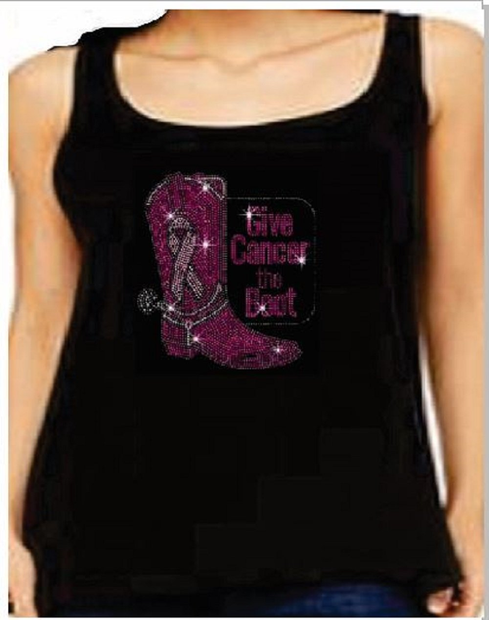 Rhinestone Womens T Shirt Breast Cancer Boot JRW-102 - S / Womens Tank Top T-Shirt