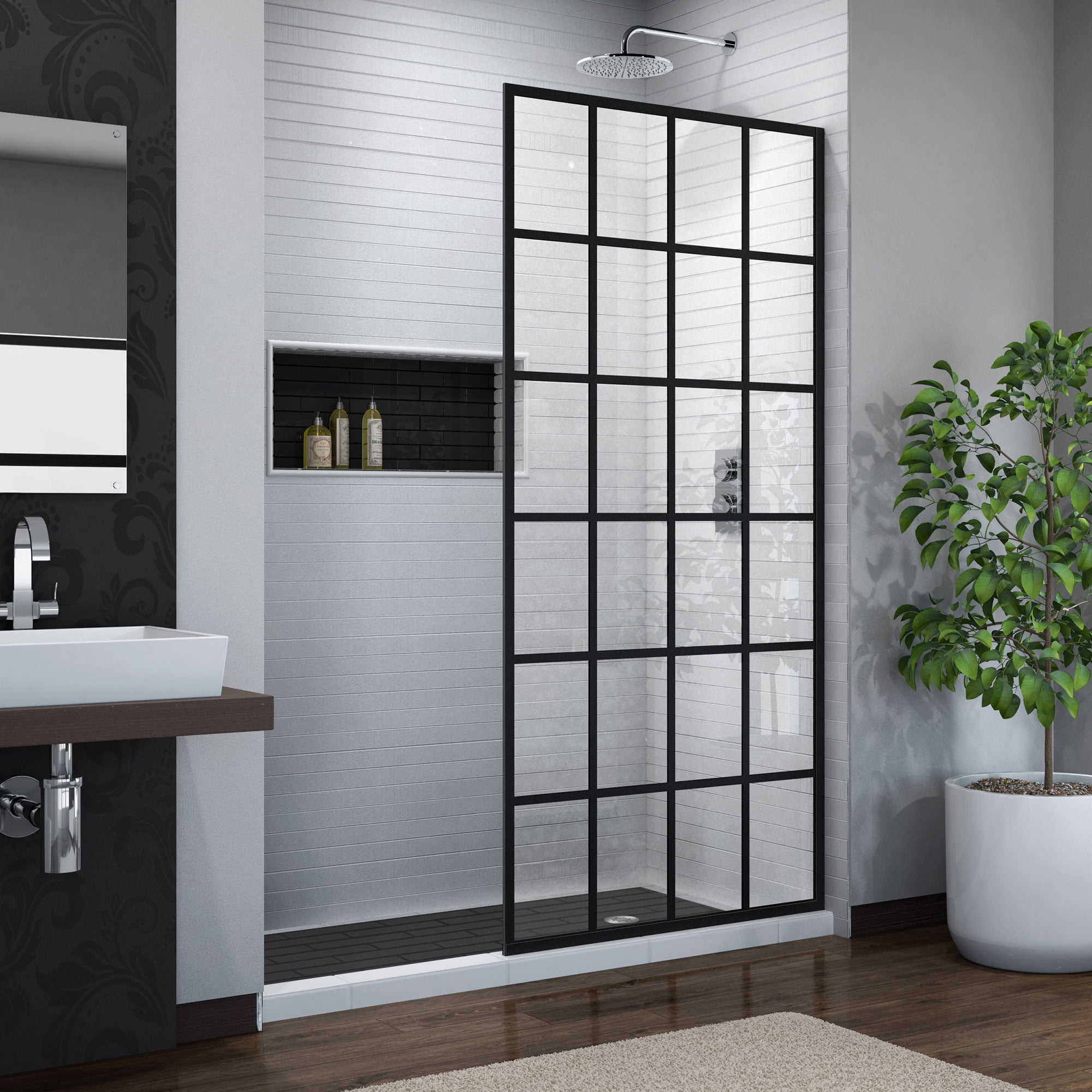 Dreamline French Linea Toulon 34 In W X 72 In H Single Panel Frameless Shower Door Open Entry Design In Satin Black Walmart Com