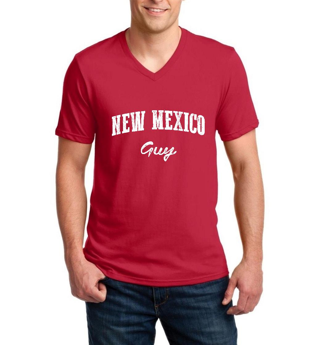 J_H_I NM Guy New Mexico Flag Albuquerque Map Lobos Home University of New Mexico Men V-Neck Shirts Ringspun