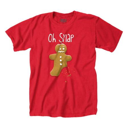 Funny Christmas T Shirt Oh Snap Gingerbread Man Tee ()