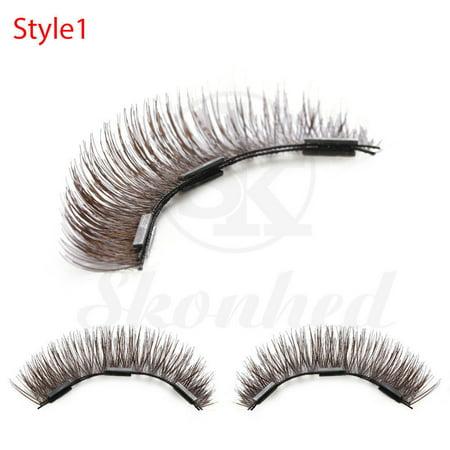 2 Pairs/4 Pcs Triple/Dual Magnetic Full Strips False Eyelashes Wispy Glue-free