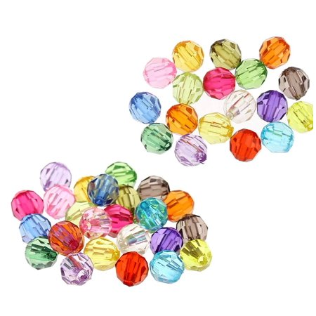 480 Mixed Acrylic Trasparent Plastic Round Faceted Spacer, Loose Beads, 6mm Craft Grade