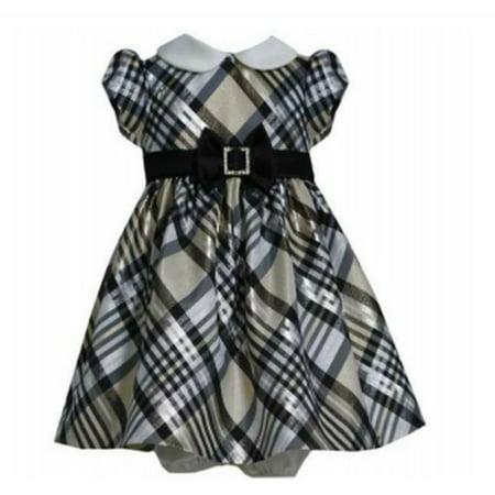 Bonnie Jean Baby Girls Gold Taffeta Plaid Dress 24 - Girls Plaid Dress