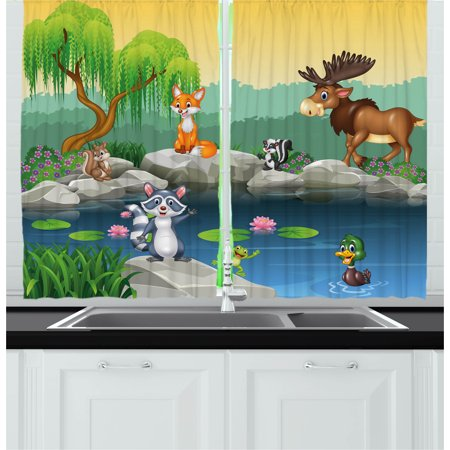 Cartoon Curtains 2 Panels Set, Funny Mascots Animals by the Lake Moose Fox Squirrel Raccoon Kids Nursery Theme, Window Drapes for Living Room Bedroom, 55W X 39L Inches, Multicolor, by Ambesonne](Theme For Kids)