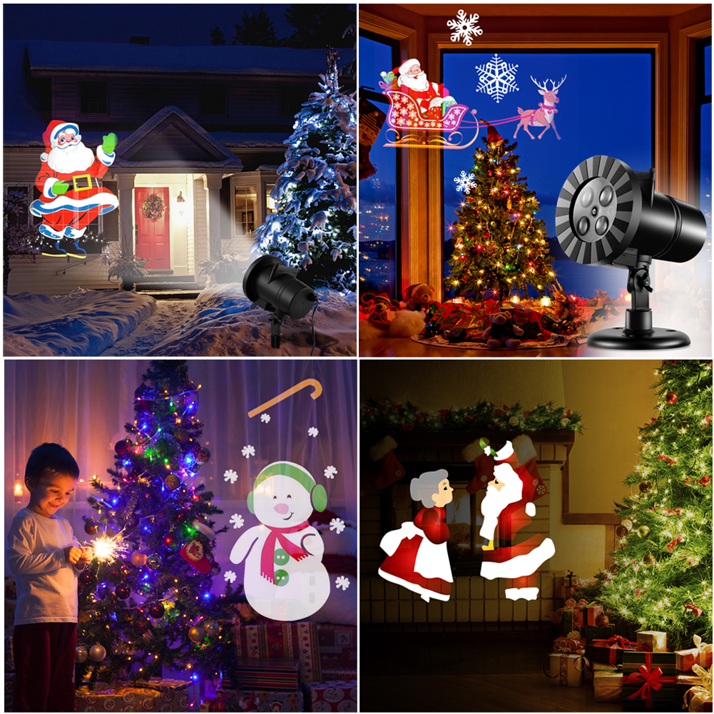 Waterproof Snowflake Rotating Projector Lights, LED Moving Projector Landscape Stage Light Indoor Outdoor Decoration for New Year Thanksgiving Christmas Carnival New Year Birthday