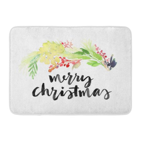 GODPOK Border Green Berry Christmas Wreath Watercolor Holiday Blossom Branch Rug Doormat Bath Mat 23.6x15.7 inch ()