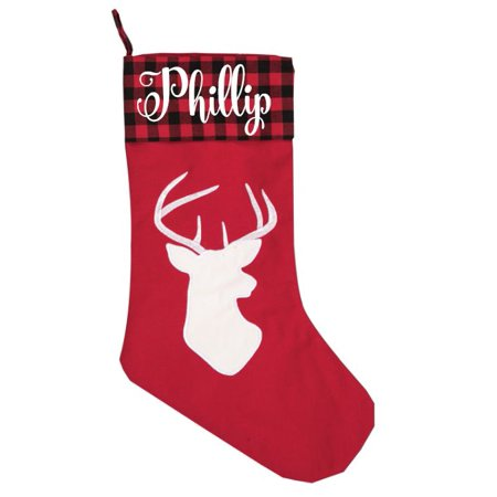 - Personalize It Red Buffalo Plaid Check Deer Head Christmas Holiday Stocking