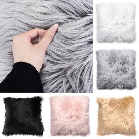 Meigar Decorative Throw Pillow Cover 18''X18'' Faux Fur Fluffy Plush Decorative Pillowslip Pillowcase Protecter for Car Sofa Bedroom Home Decor ()