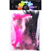 Packaged Feathers 7g-Black, White & Hot Pink