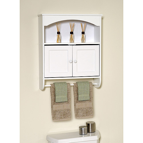 White Wood Wall Cabinet with Open Storage and Towel Bar