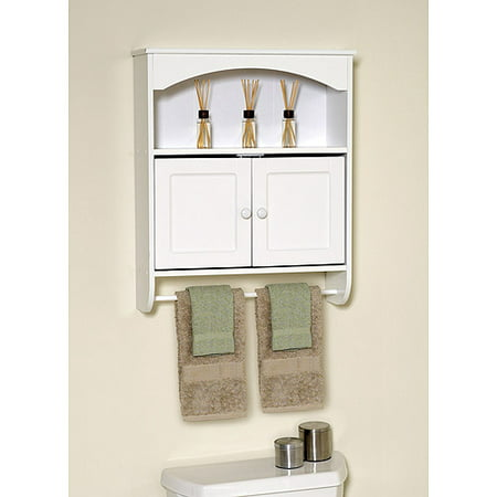 mainstays white wood wall cabinet with open storag