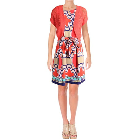 Signature By Robbie Bee Womens Printed Sleeveless Dress With Cardigan