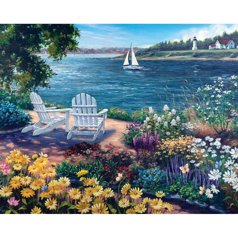 Garden by the Bay 1000 Piece Puzzle,  Gardens by White Mountain Puzzles