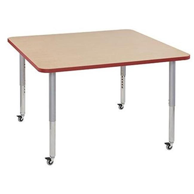Early Childhood Resources ELR-14223-MPMPSVSL 36 in. Thermo-Fused Square Adjustable Activity Table with Super Legs - Maple & Silver