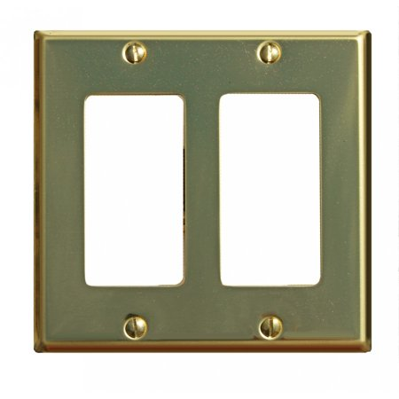 Double Gfci Solid Brass - Switchplate Bright Solid Brass Double GFI | Renovators Supply