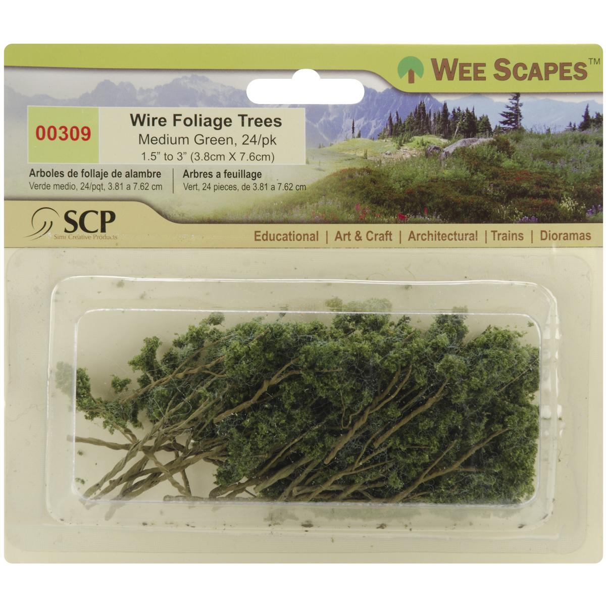 "Wire Foliage Trees 1.5"" To 3"" 24/Pkg-Medium Green"