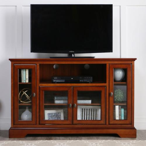 WE Furniture 52 in. Rustic Brown Highboy Style Wood TV Stand