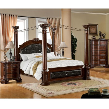 Furniture Of America Luxury Brown Cherry 3 Piece Baroque Style Canopy Bedroom Set