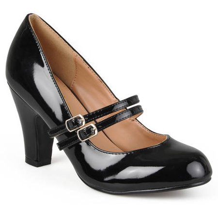 Brinley Co. Women's Medium and Wide Width Mary Jane Patent Leather Pumps - Patent Leather Wide Cinch