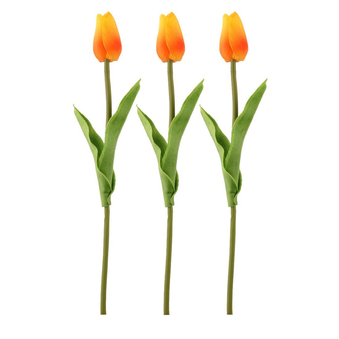 Wedding Tulip Design Handhold Artificial Flower Bouquet Yellow Orange 3pcs
