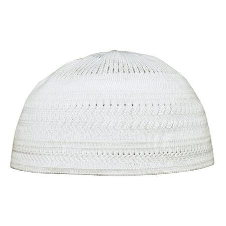 TheKufi® Plain White Cotton Stretch-Knit Kufi Hat Skull Cap - Comfortable Fit - Unique