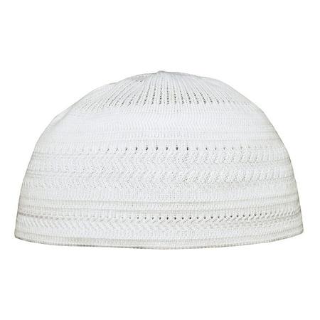TheKufi® Plain White Cotton Stretch-Knit Kufi Hat Skull Cap - Comfortable Fit - Unique Design