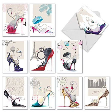 'M2324 CATITUDE SHOES' 10 Assorted Thank You Notecards Feature Stylish Cats Frolicking in Stylish Shoes with Envelopes by The Best Card