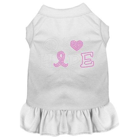 Peace Love Hope Breast Cancer Rhinestone Pet Dress White 4x (22) for $<!---->