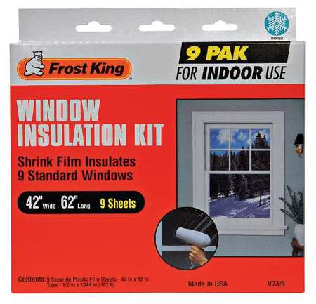 FROST KING V73/9H Shrink Window Kit,Indoor,42 x 62 In