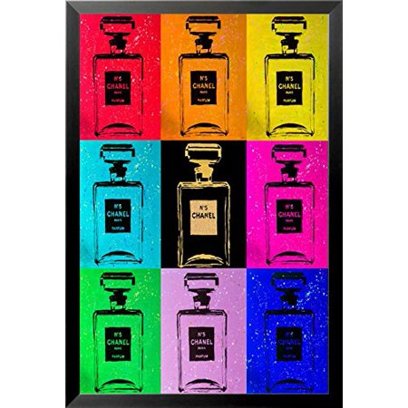 FRAMED Multi Color Chanel Pop Art Urban Chic by PopArtQueen 36x24 Art Print Poster (Framed Pop Art)