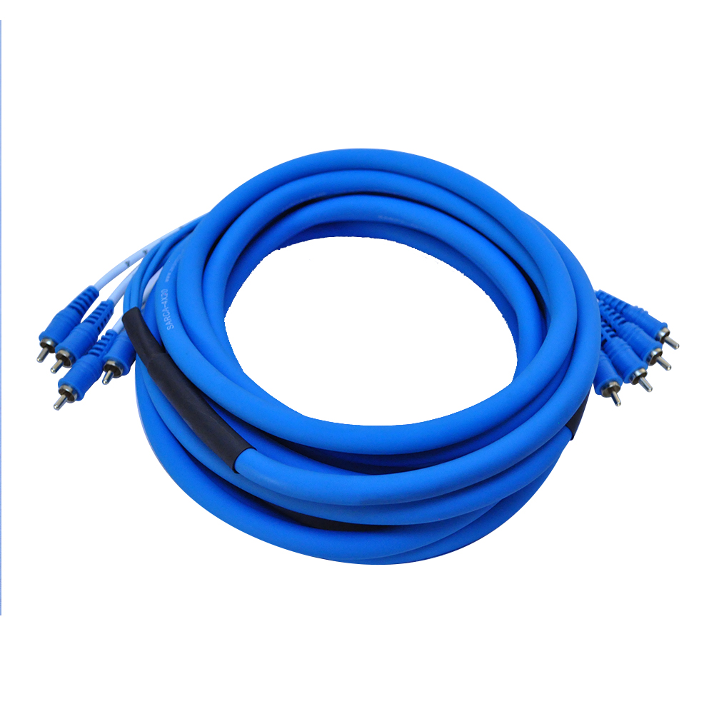 Seismic Audio  4 Channel 20 Foot RCA Audio Snake Cable 20' - Pro Home Audio Blue - SARCA-4x20