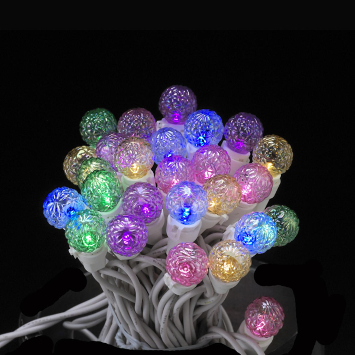 Set of 50 LED Pastel Multi-Colored Glass G15 Berry Christmas ...