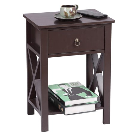 Zimtown Brown Bedside Nightstand End Sofa Table with Drawer and Shelf for Storage ()
