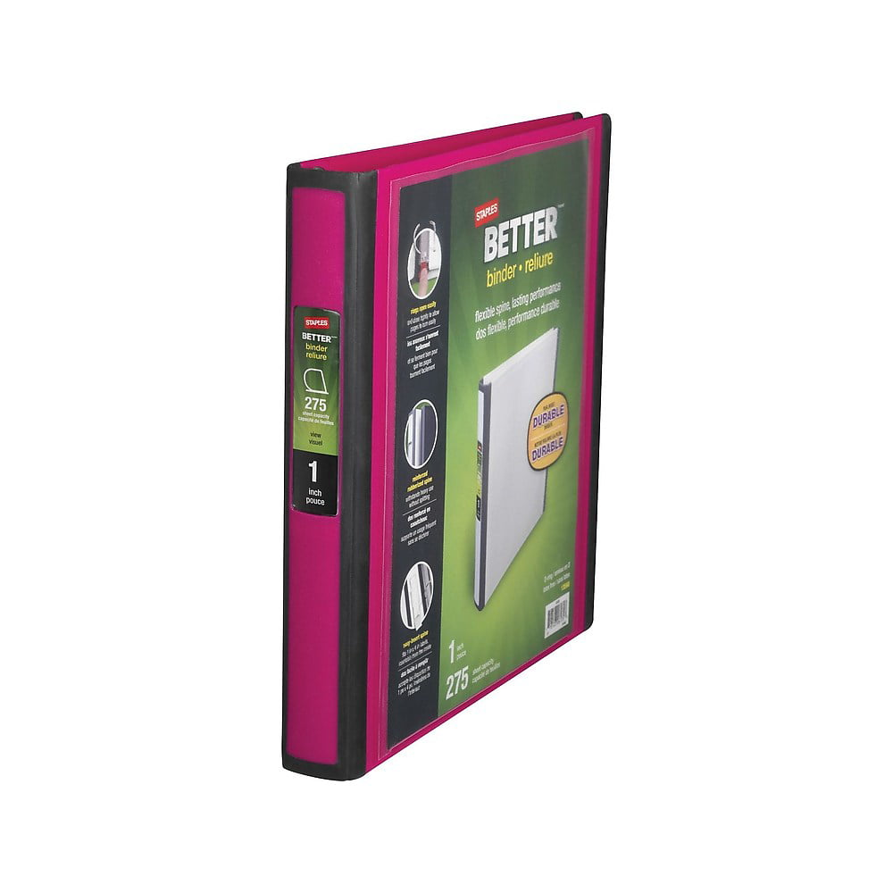 Staples Better View 1-inch D 3-ring Binder, Pink (13568-cc