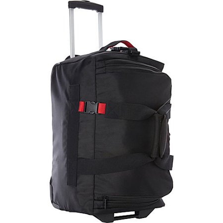 """Image of A. Saks 20"""" Expandable Carry-On Trolley Duffel Black/Red - A. Saks Softside Carry-On"""