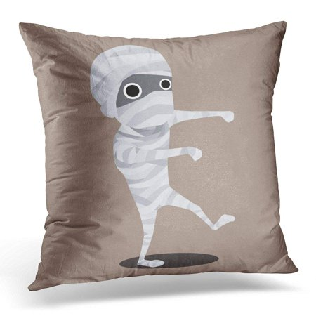 ARHOME White Flat Halloween Cartoon Character Mummy Monster Pillow Cover 16x16 Inches Throw Pillow Case Cushion - Mummy Cartoon Halloween