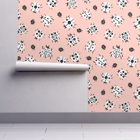Wallpaper Roll Or Sample Pastel Pink Black And White Ladybug Ladybird Cute