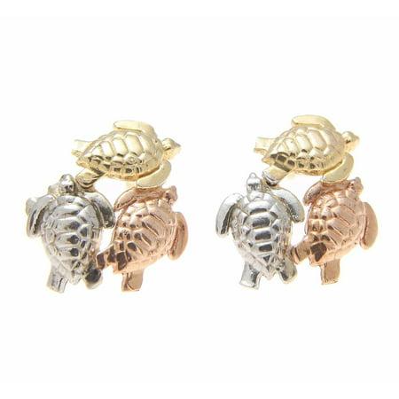 14K tricolor solid gold Hawaiian 11mm honu sea turtle post stud earrings
