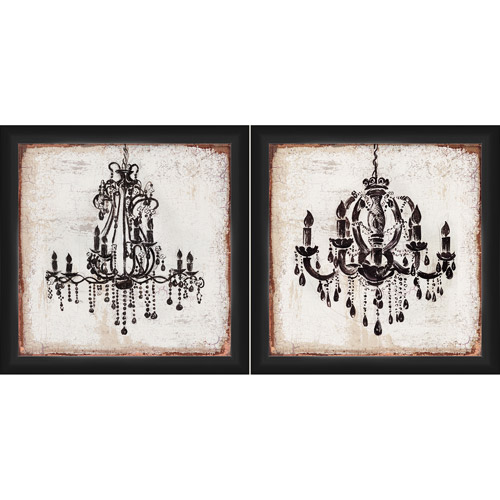 "Framed Wall Art Set Of 2 framed graphic ""chandelier"" wall art, 14"" x 14"", set of 2"