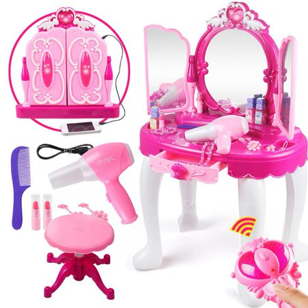 HURRISE Girls Vanity Pretend Play Dressing Table Toy with Stool, Mirror, Hair Dryer, Pink Music Mirror Make-Up Table Beauty Toy For Girls Kids Birthday -
