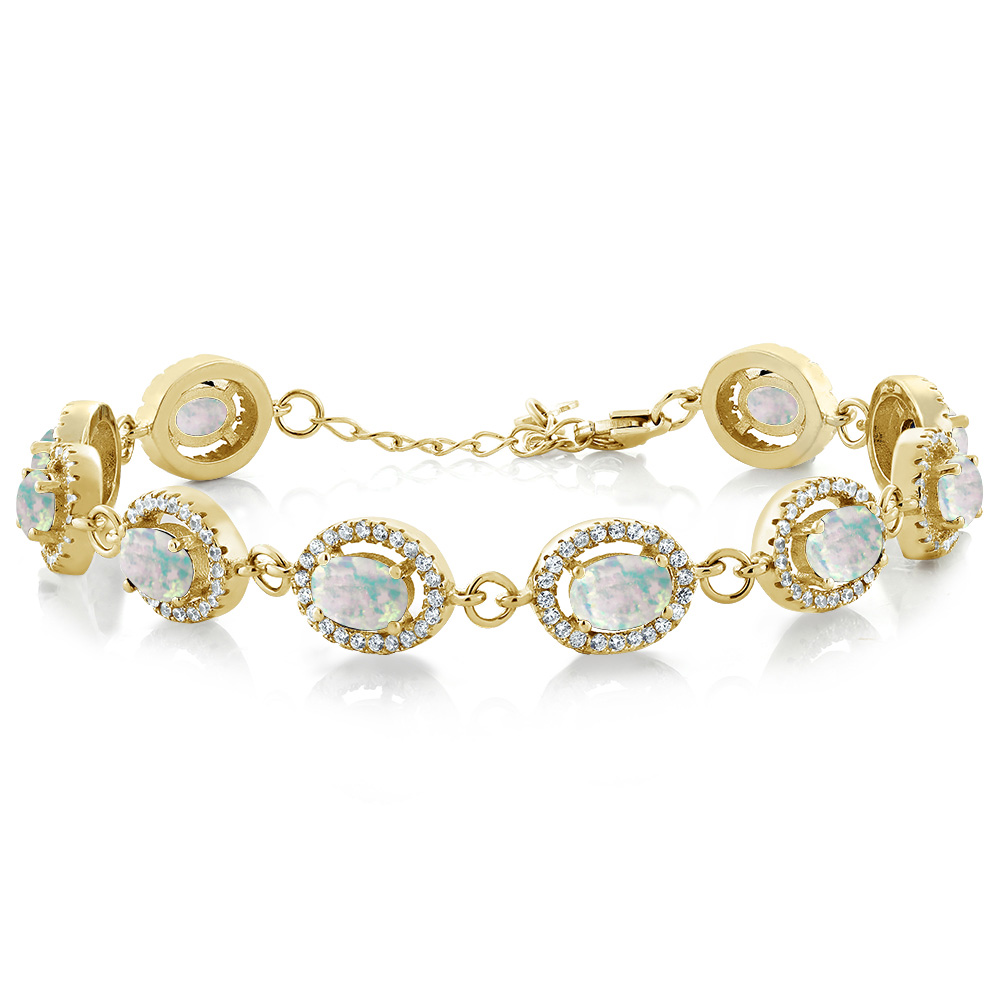 9.18Ct Oval Cabochon White Simulated Opal 18K Yellow Gold Plated Silver Bracelet by