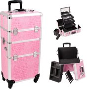 Sunrise I3561CRPK Pink Croc Trolley Makeup Case - I3561