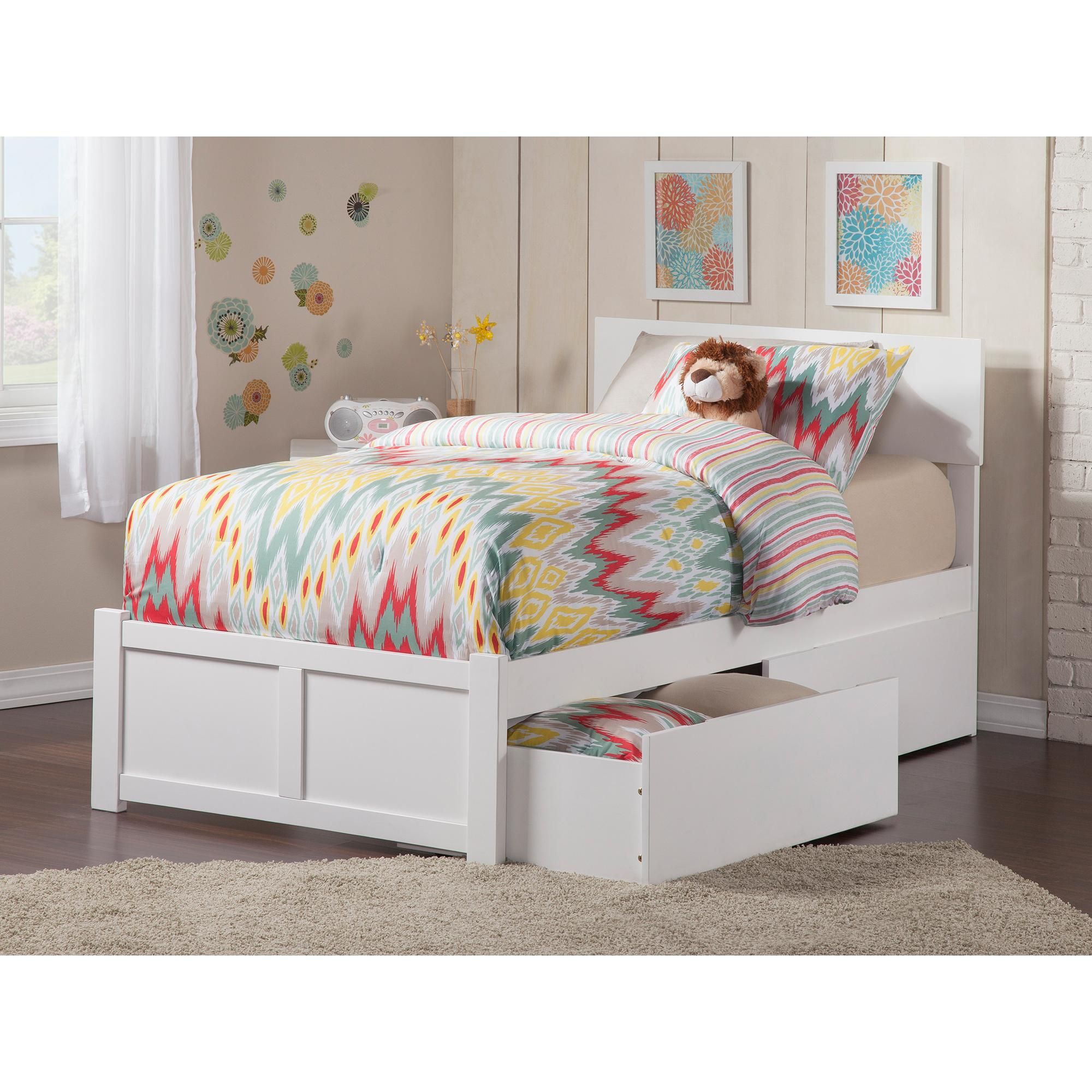 Picture of: Eco Friendly Twin Xl Bed In White Finish Atlantic Furniture 77 In Home Kitchen Kids Furniture
