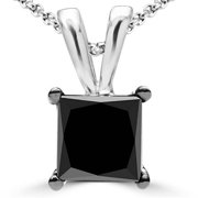 0. 62 CT Solitaire Princess Cut Black Diamond Pendant in 10K White Gold With Chain, 0. 62 Carat