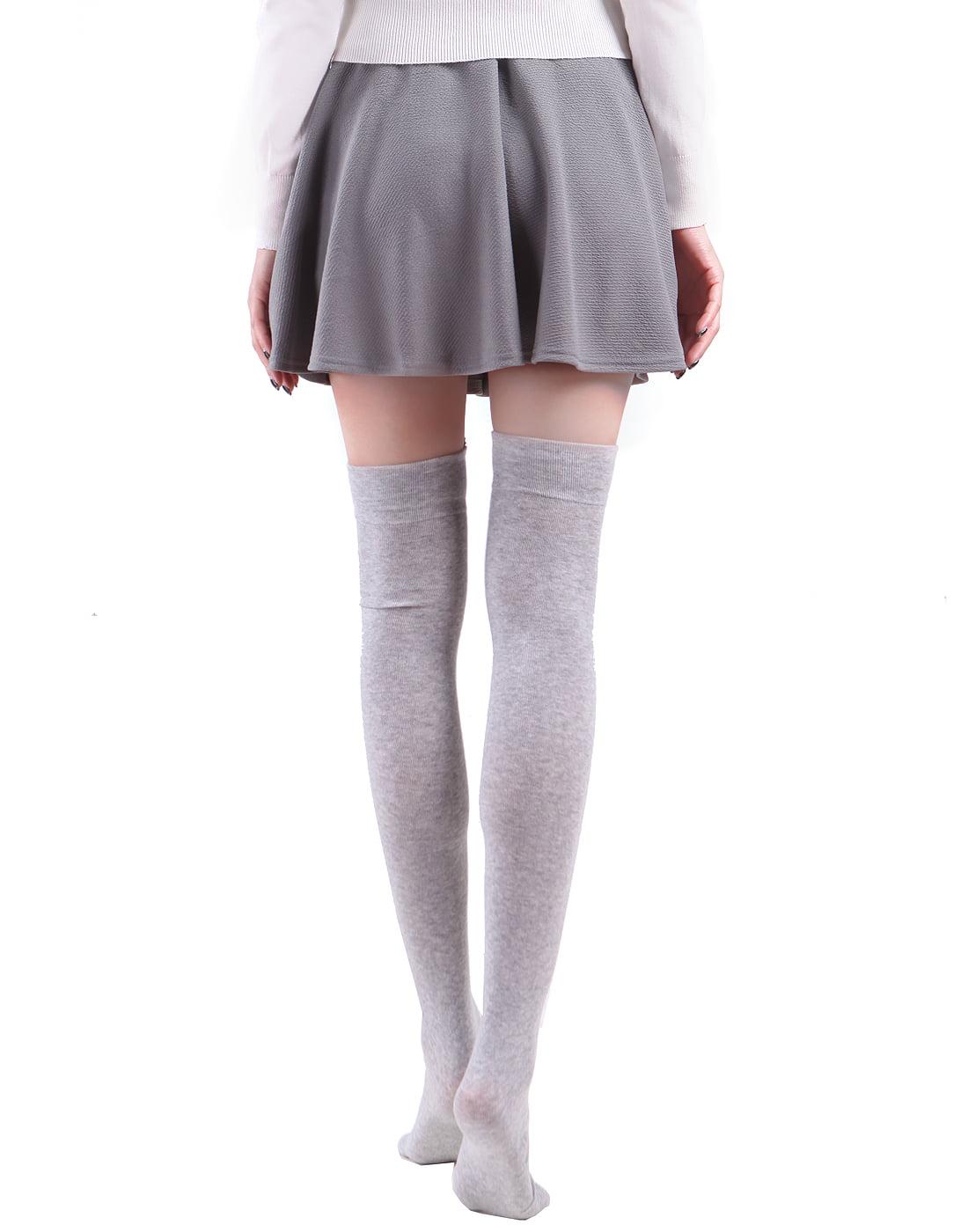 8047ea0c2 HDE Women's Animal Over Knee Thigh High Socks Stockings with Ears (Gray  Bear)