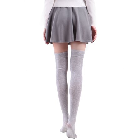 3380bc240d1a2 HDE Women's Animal Over Knee Thigh High Socks Stockings with Ears (Gray  Panda) ...