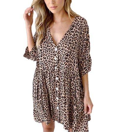 Womens Casual Leopard Print Loose Pleated Dress Half Sleeve V-neck High Waist Single-Breasted Mini -